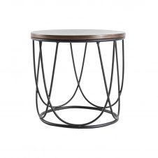 Table d'appoint bois foncé et métal L42 x H40 cm LACE