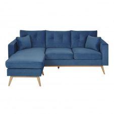 Canapé d'angle 4/5 places bleu