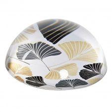 Presse papier en verre blanc, noir et or D8cm