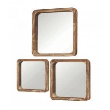 Set de 3 miroirs décoratifs carrés en bois