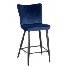 Tabouret de bar H63 cm CLOHE velours bleu