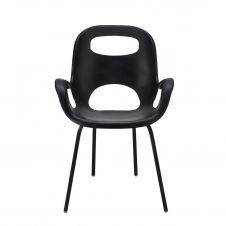 Chaise avec accoudoirs, coloris noir
