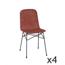 Lot de 4 chaises en rotin terracotta