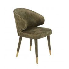 Chaise design de repas en velours vert kaki