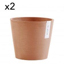 Lot de 2 pots de fleurs terracotta D20