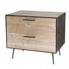 Chevet 2 tiroirs bois sapin et pieds métal