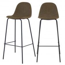 Chaise de bar 75 cm en cuir synthétique vert kaki (lot de 2)