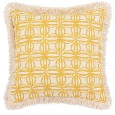 Housse de coussin en coton imprimé graphique écru et jaune 40×40