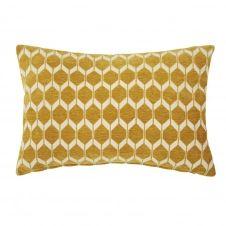 Coussin jaune moutarde motifs graphiques 40×60
