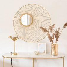 Miroir filaire en métal doré D76