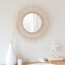 Miroir rond en bambou D55  Exemplaire