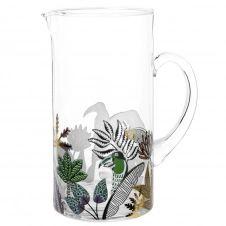 Carafe en verre imprimé tropical et toucan multicolore 1.3L