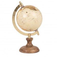 Mini globe terestre carte du monde beige et doré