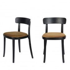 2 chaises en velours et bois camel