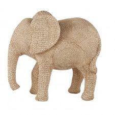 Statue éléphanteau tressée beige H70