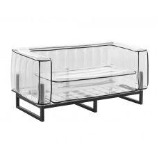 Canapé 2 places tpu transparent cadre en aluminium passepoil noir