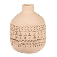 Vase en grès gravé beige et gris H23