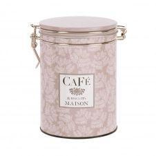 Boîte à café en métal taupe et ivoire à motifs H15