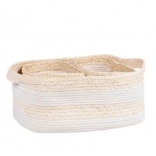 Corbeilles en fibre de maïs et coton blanc (x3)