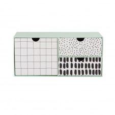 Boîte 3 tiroirs blanche et bleu vert à motifs noirs