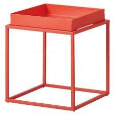Table d'Appoint Carrée Métallique Orange