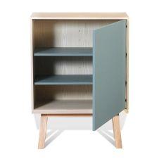 Armoire 1 porte en bois bleu briac