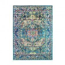 Tapis pour intérieur-extérieur médaillon bleu 160×230