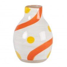 Vase en grès blanc, corail et jaune H17