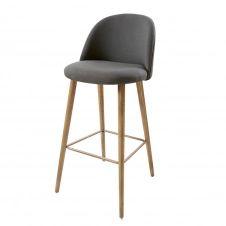 Chaise de bar vintage gris anthracite et frêne Mauricette