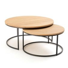 Lot de 2 grandes tables basses gigognes chêne Vova