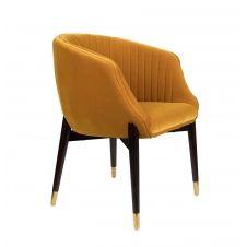 Chaise confortable velours Jaune