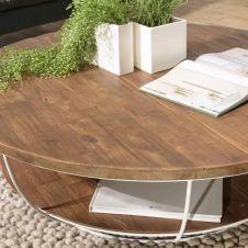 Table basse coque 2 plateaux 120 bois teck recyclé métal blanc