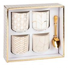 Coffret tasses en porcelaine blanche motifs graphiques (x4) et cuillères en métal doré
