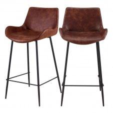 Chaise de bar mi-hauteur 65 cm cuir synthétique marron (x2)