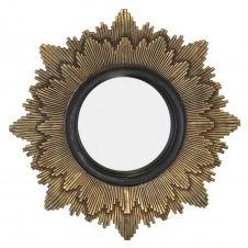 Miroir soleil D20 cm noir / or