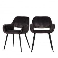2 fauteuils de table en velours gris