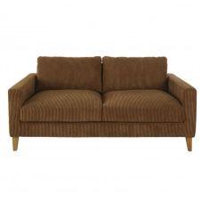 Canapé 3 places en velours côtelé marron Holden