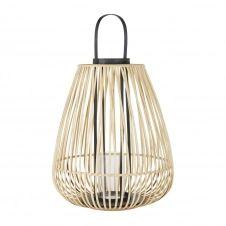Lanterne avec anse en bambou beige et noir