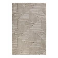 Tapis motif géométrique relief beige taupe 170×120