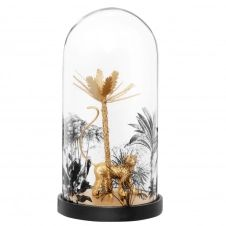 Statuette singe et palmier dorés sous cloche en verre imprimé H22