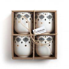 Lot 4 tasses expresso porcelaine, MELLAH