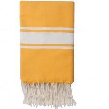 Fouta en coton bande blanche 100×200 Jaune safran