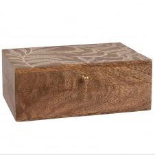 Boîte à bijoux en manguier gravé