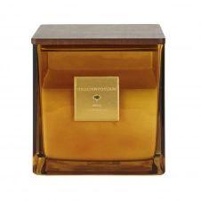 Bougie parfumée en verre teinté ambre