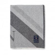 Plaid en mélange de laine Diagonal Striped Logo 130×170 cm Gris