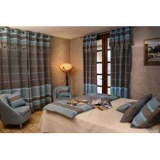 CARTHAGE – Rideau ajustable coton anthracite turquoise 140 x 250 à 280