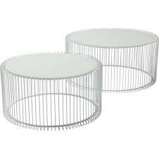2 tables basses rondes en acier blanc et verre