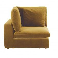Angle pour canapé modulable en velours jaune