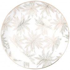 Assiette plate en porcelaine blanche motif végétal doré
