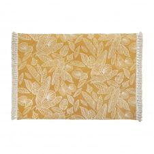 Tapis en coton écru et jaune moutarde avec pompons 140×200